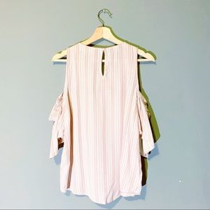 Sweet Wanderer Tops - Sweet Wanderer | Blouse Cold Shoulder Striped Med